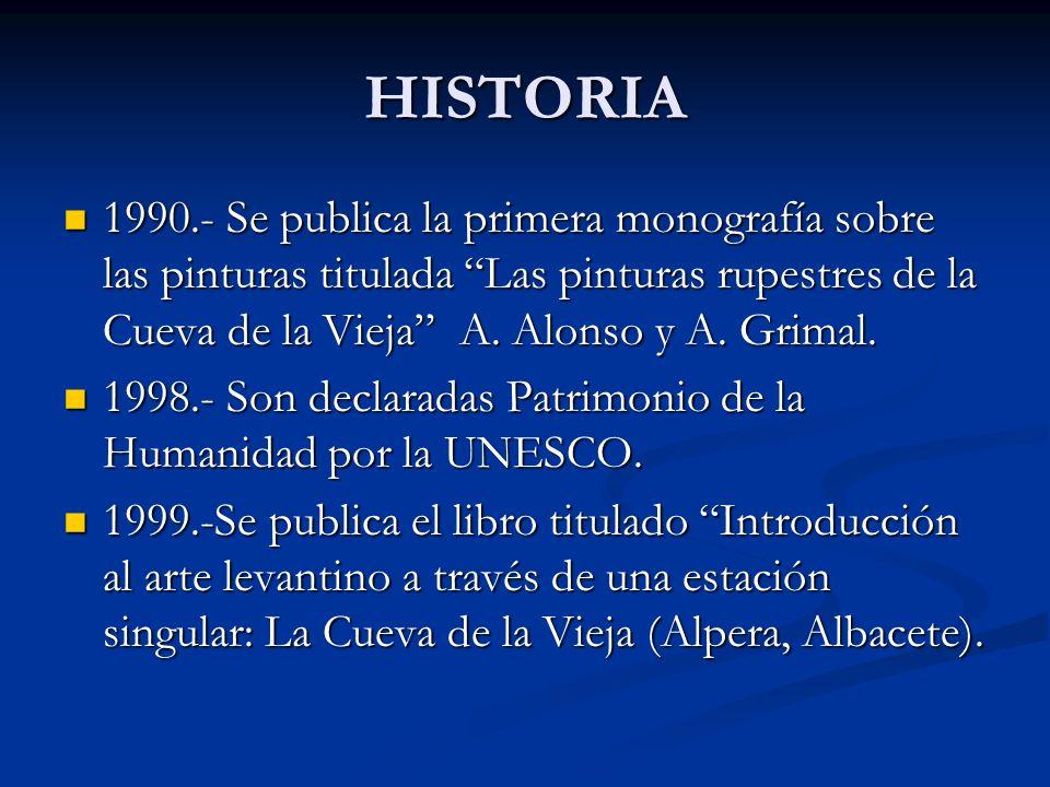 HISTORIA 1990.- Se publica la primera monografía sobre las pinturas titulada Las pinturas rupestres de la Cueva de la Vieja A. Alonso y A. Grimal.