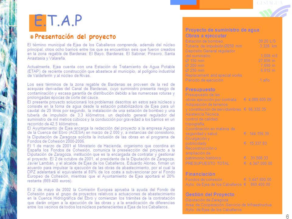 E.T.A.P Presentación del proyecto Proyecto de suministro de agua