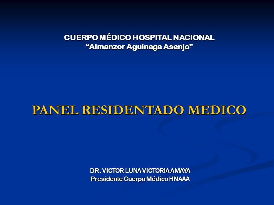 PANEL RESIDENTADO MEDICO