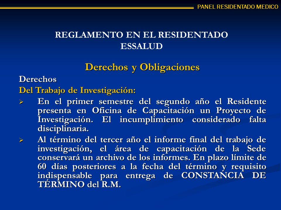 REGLAMENTO EN EL RESIDENTADO ESSALUD Derechos y Obligaciones