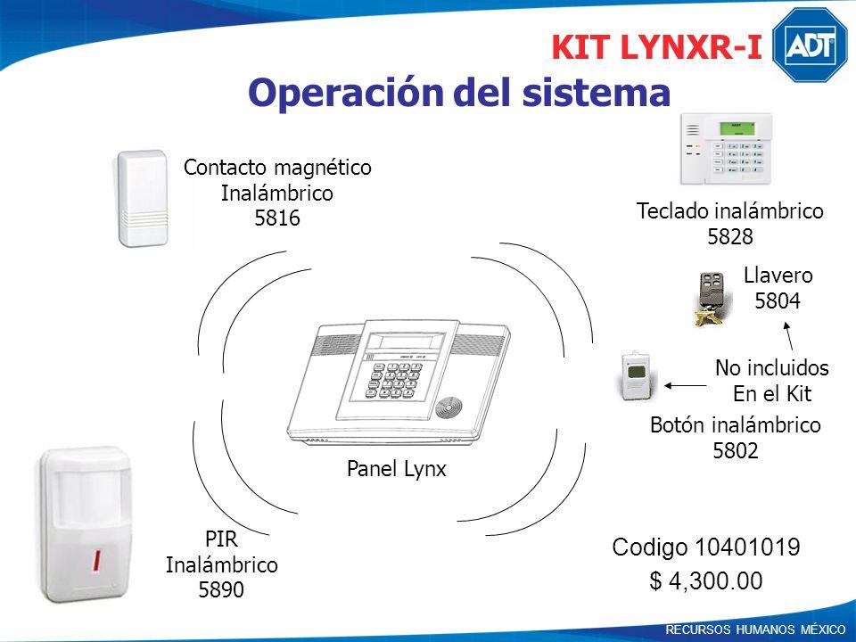 Operación del sistema KIT LYNXR-I Codigo 10401019 $ 4,300.00
