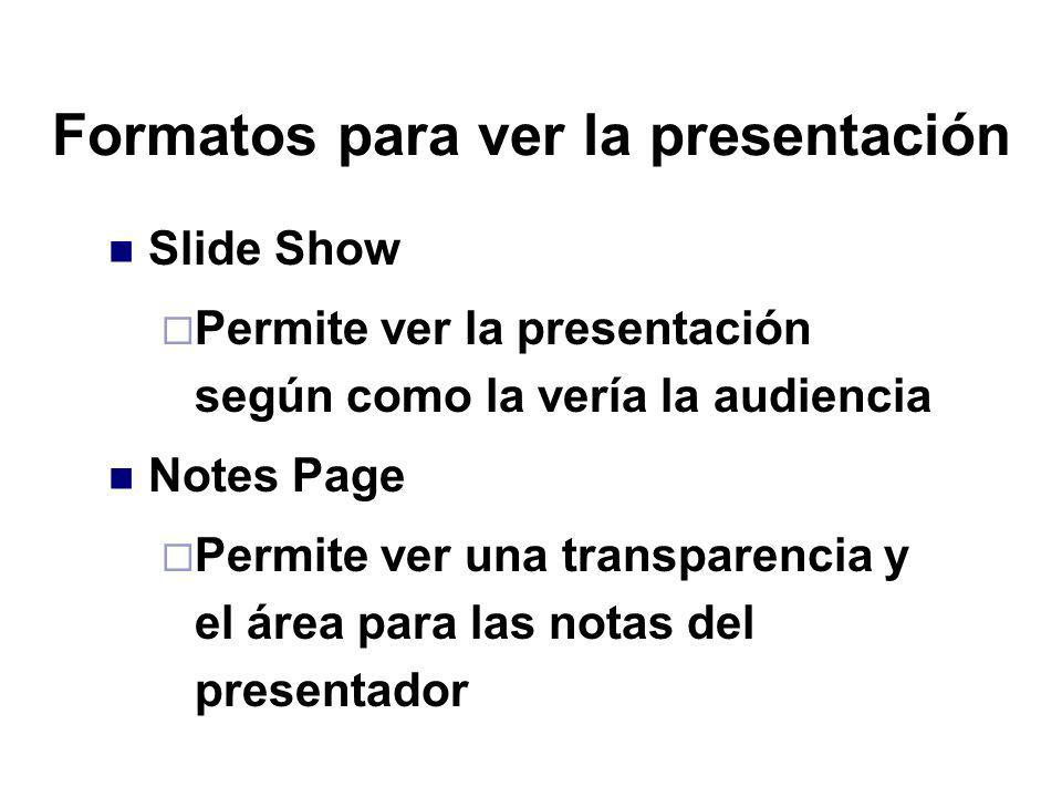 Formatos para ver la presentación