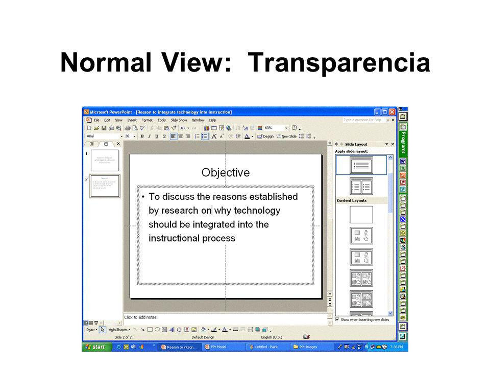 Normal View: Transparencia