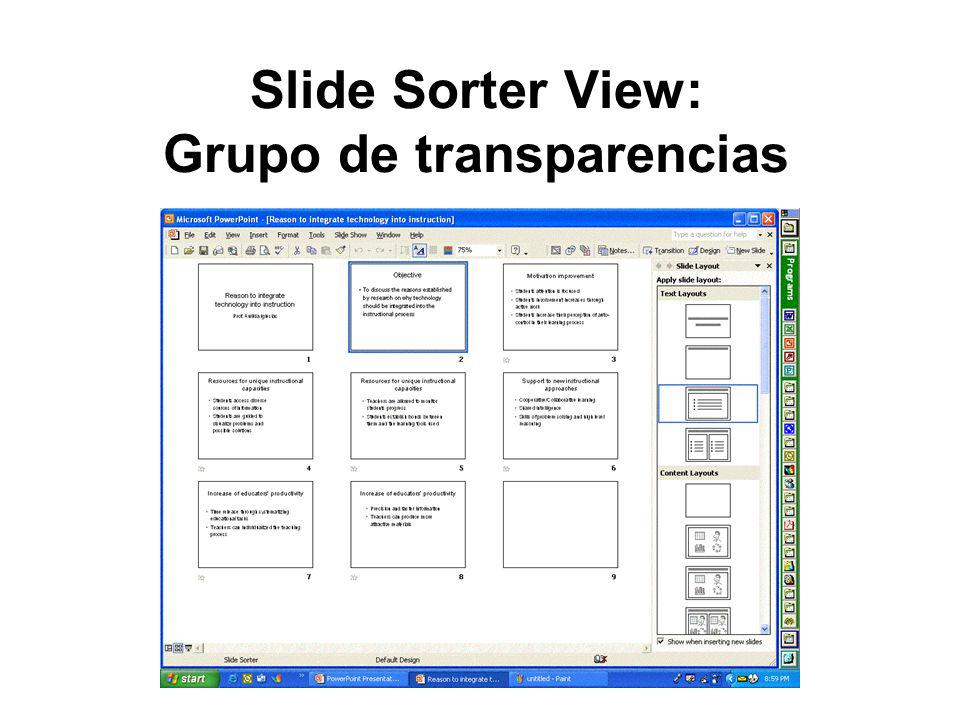 Slide Sorter View: Grupo de transparencias