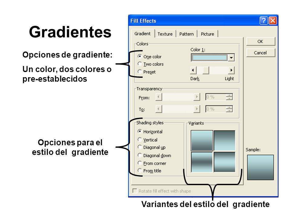 Opciones para el estilo del gradiente