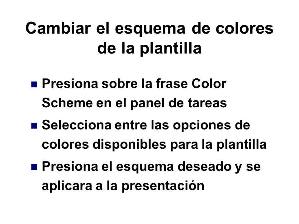 Cambiar el esquema de colores de la plantilla
