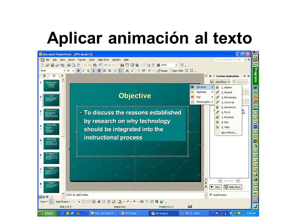 Aplicar animación al texto