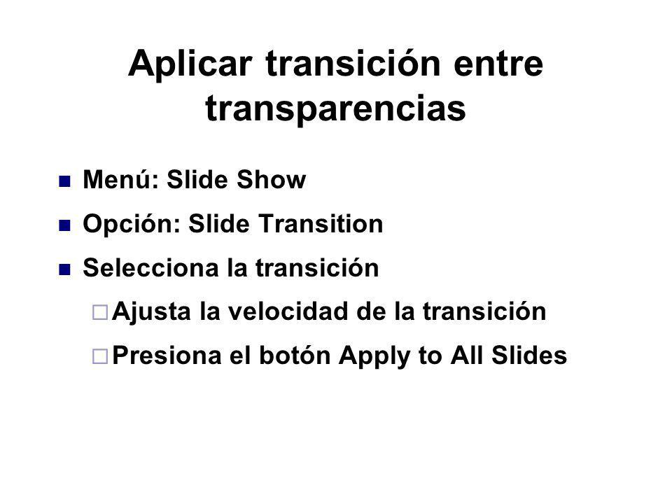 Aplicar transición entre transparencias