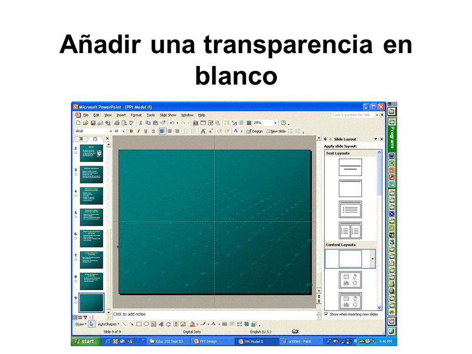 Añadir una transparencia en blanco