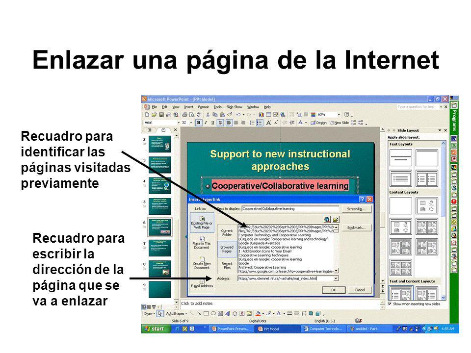 Enlazar una página de la Internet