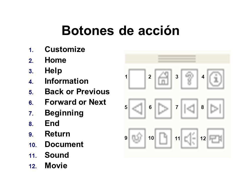 Botones de acción Customize Home Help Information Back or Previous