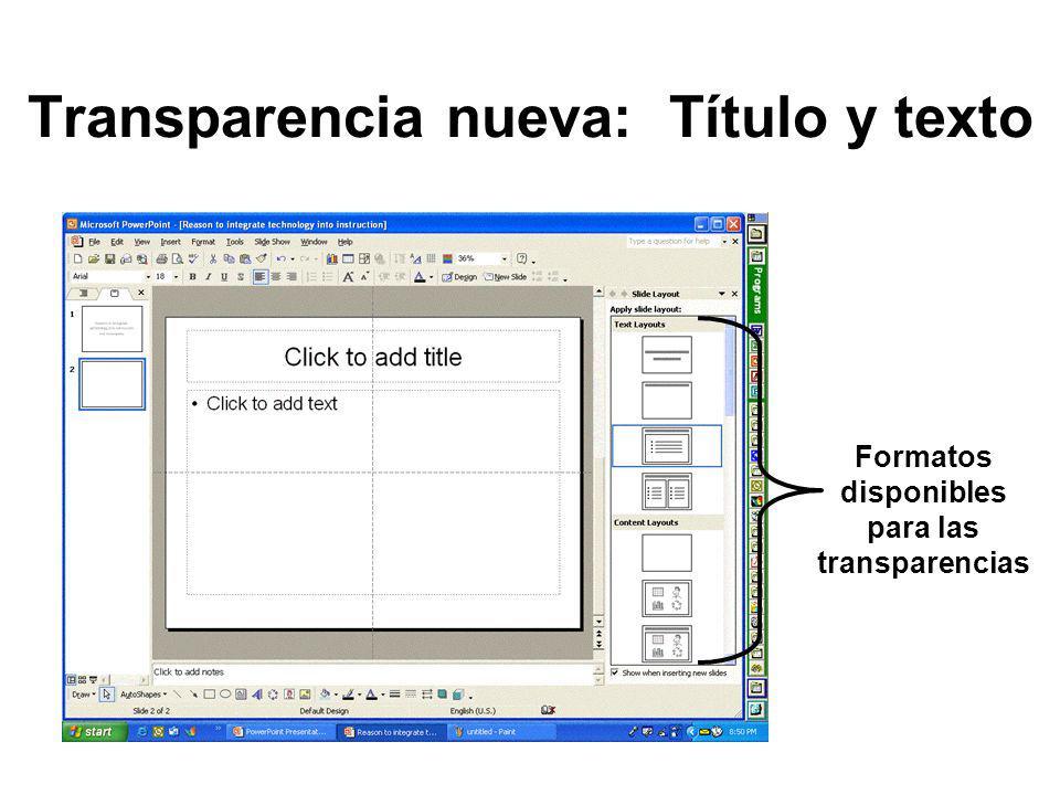 Transparencia nueva: Título y texto