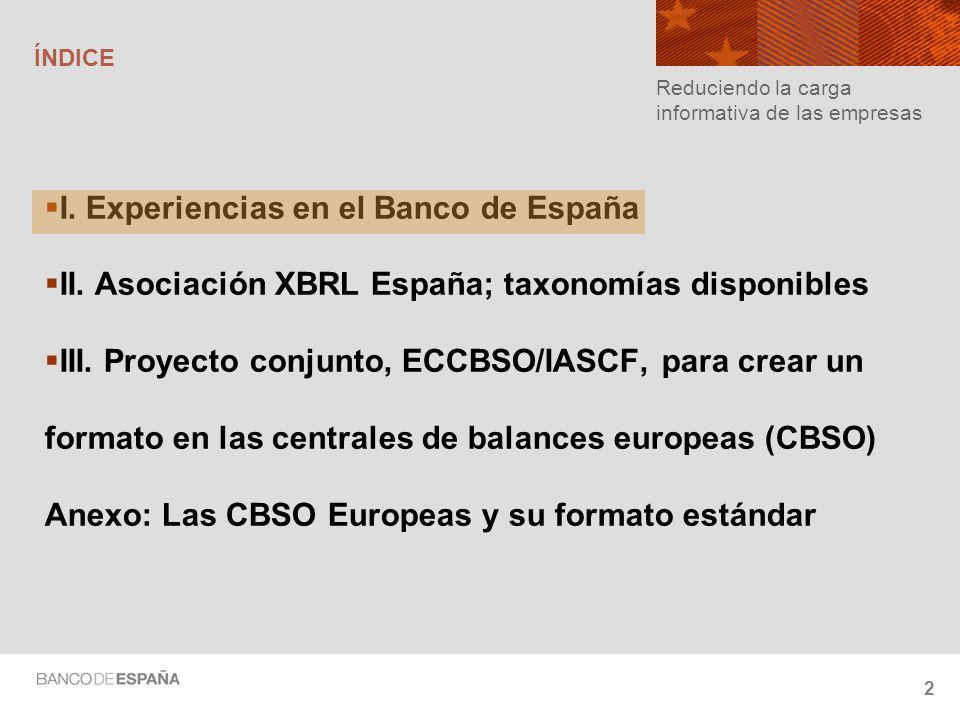I. Experiencias en el Banco de España
