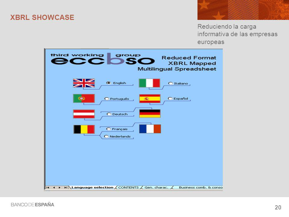 XBRL SHOWCASE Reduciendo la carga informativa de las empresas europeas