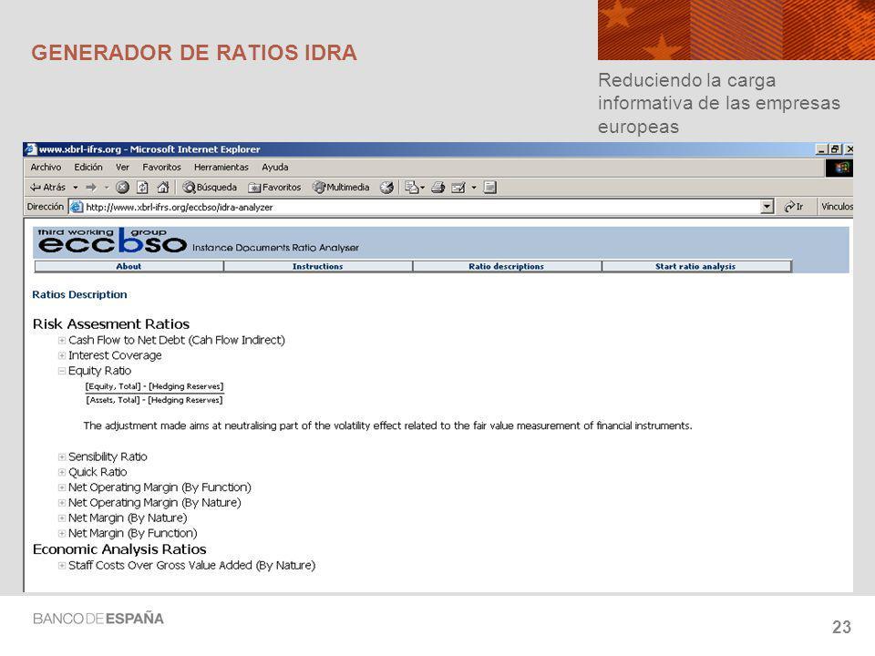GENERADOR DE RATIOS IDRA