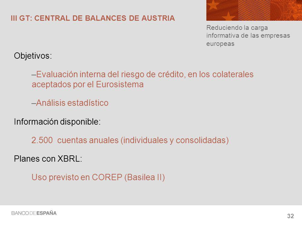 III GT: CENTRAL DE BALANCES DE AUSTRIA