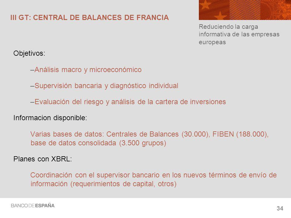 III GT: CENTRAL DE BALANCES DE FRANCIA
