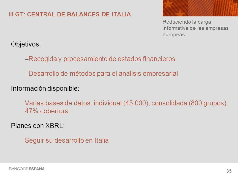 III GT: CENTRAL DE BALANCES DE ITALIA