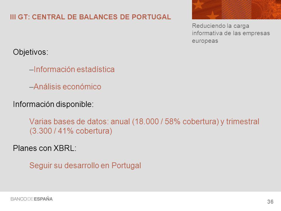 III GT: CENTRAL DE BALANCES DE PORTUGAL