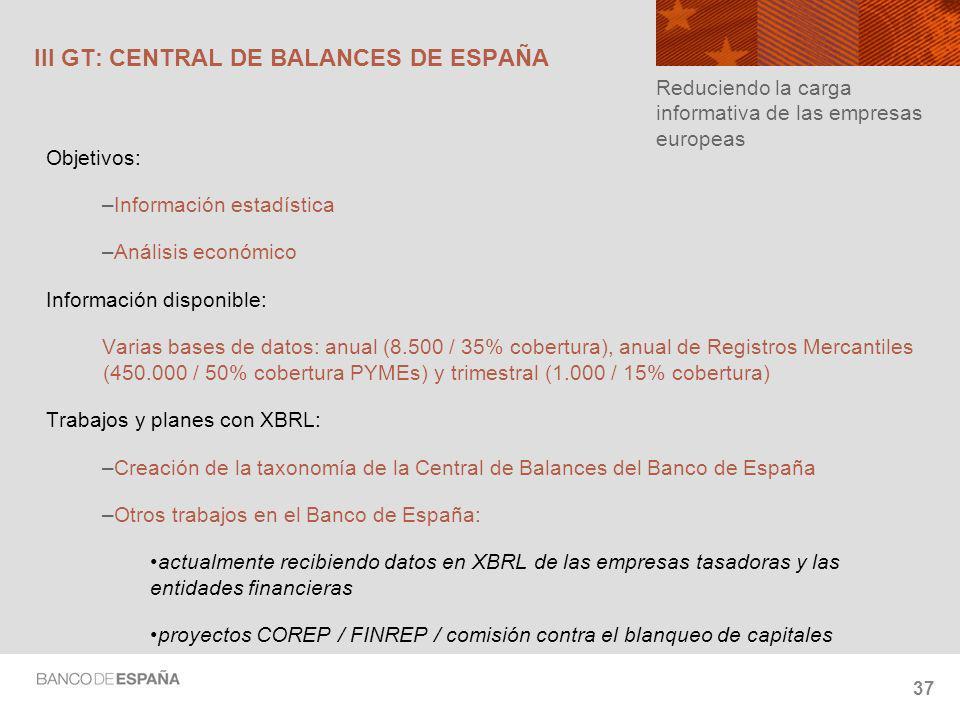 III GT: CENTRAL DE BALANCES DE ESPAÑA