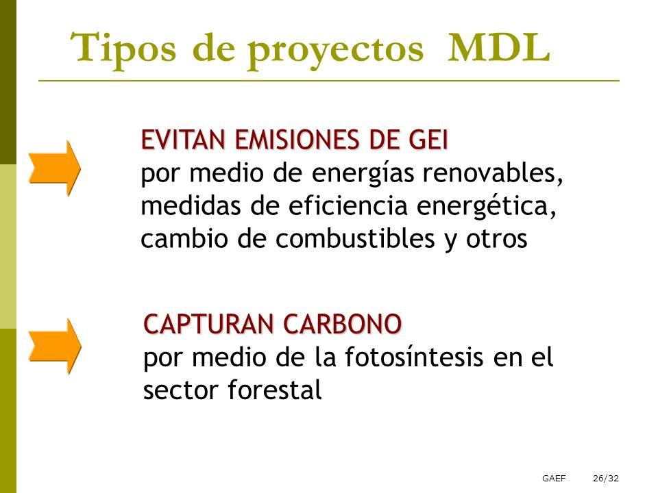 Tipos de proyectos MDL EVITAN EMISIONES DE GEI