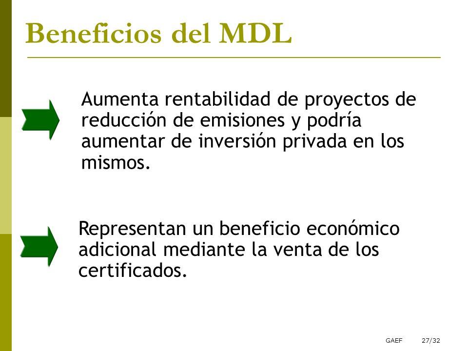 Beneficios del MDL Aumenta rentabilidad de proyectos de reducción de emisiones y podría aumentar de inversión privada en los mismos.