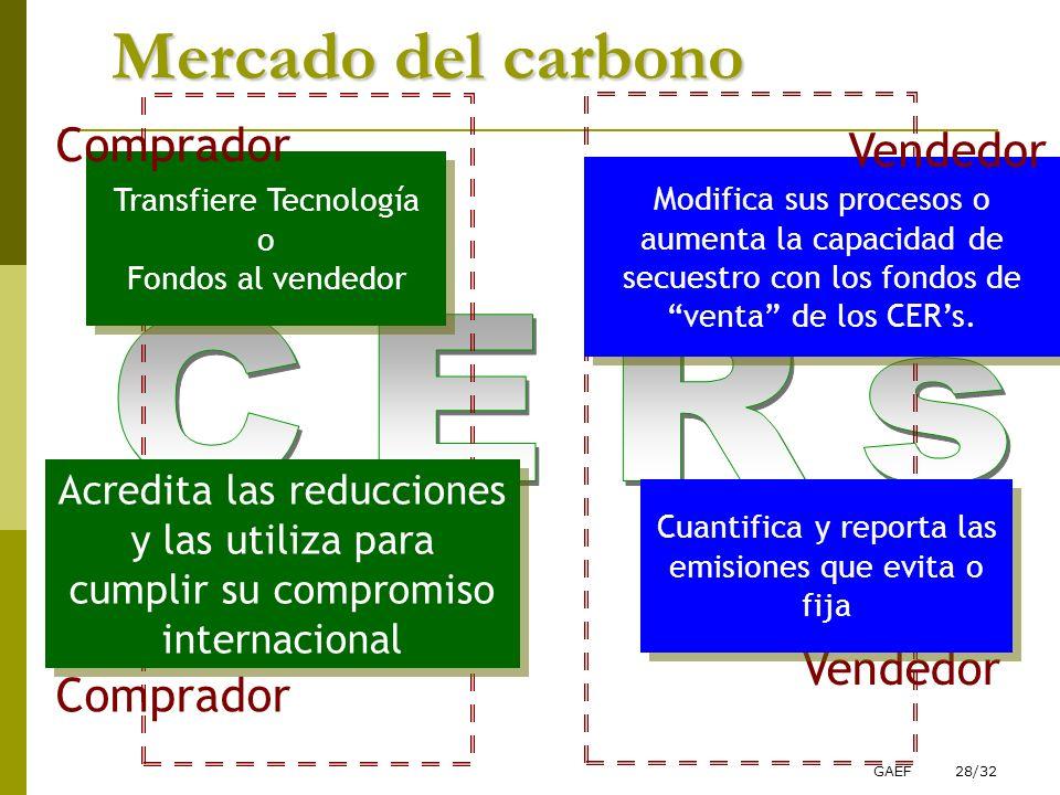 Mercado del carbono CERs Comprador Vendedor Vendedor Comprador
