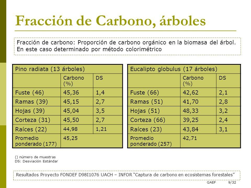 Fracción de Carbono, árboles