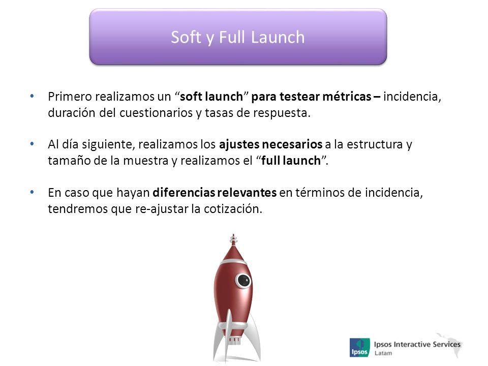 Soft y Full Launch Primero realizamos un soft launch para testear métricas – incidencia, duración del cuestionarios y tasas de respuesta.