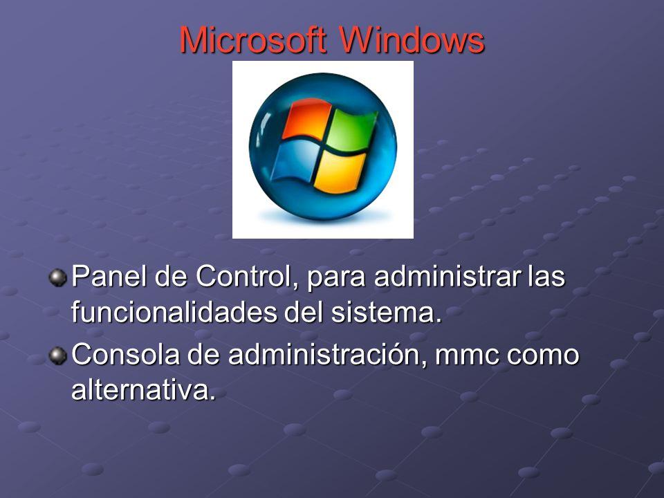 Microsoft Windows Panel de Control, para administrar las funcionalidades del sistema.