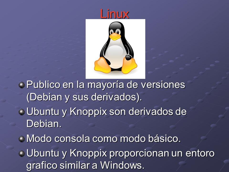 Linux Publico en la mayoría de versiones (Debian y sus derivados).