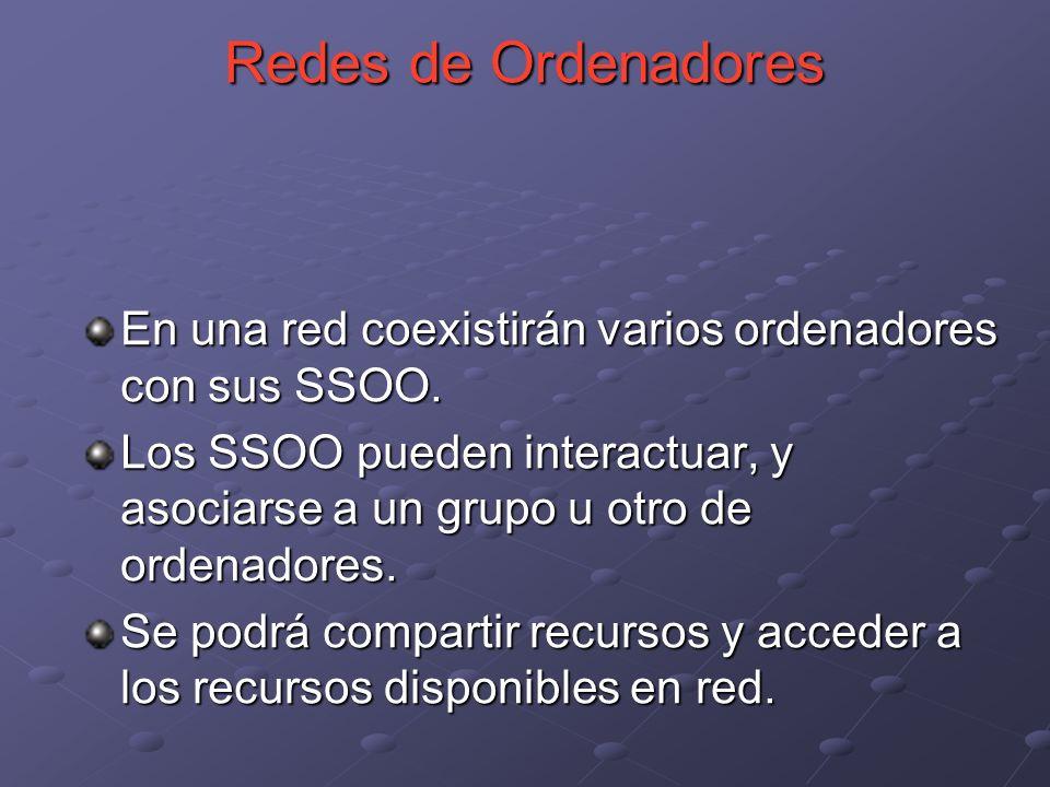 Redes de Ordenadores En una red coexistirán varios ordenadores con sus SSOO.