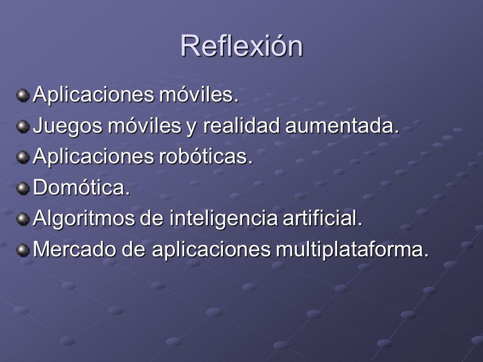 Reflexión Aplicaciones móviles. Juegos móviles y realidad aumentada.