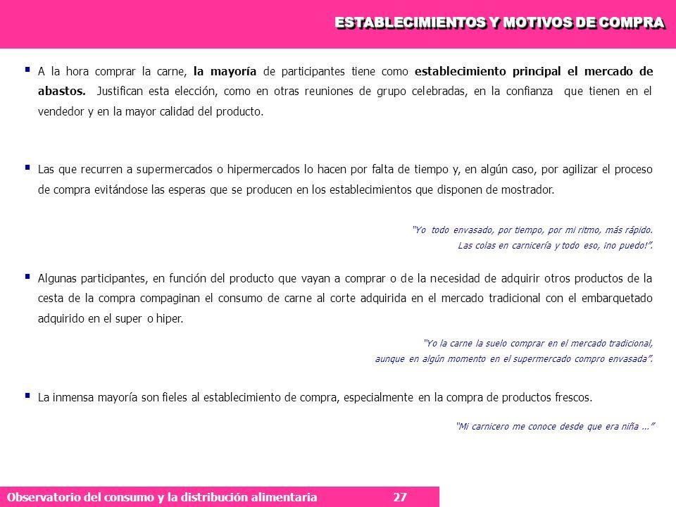 ESTABLECIMIENTOS Y MOTIVOS DE COMPRA