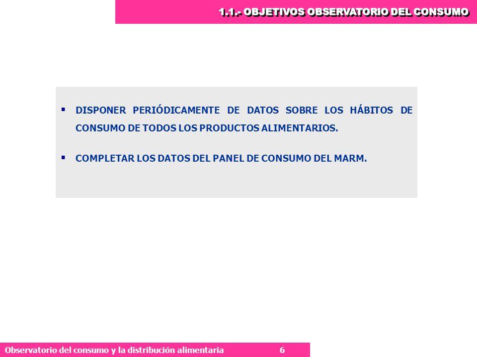 1.1.- OBJETIVOS OBSERVATORIO DEL CONSUMO