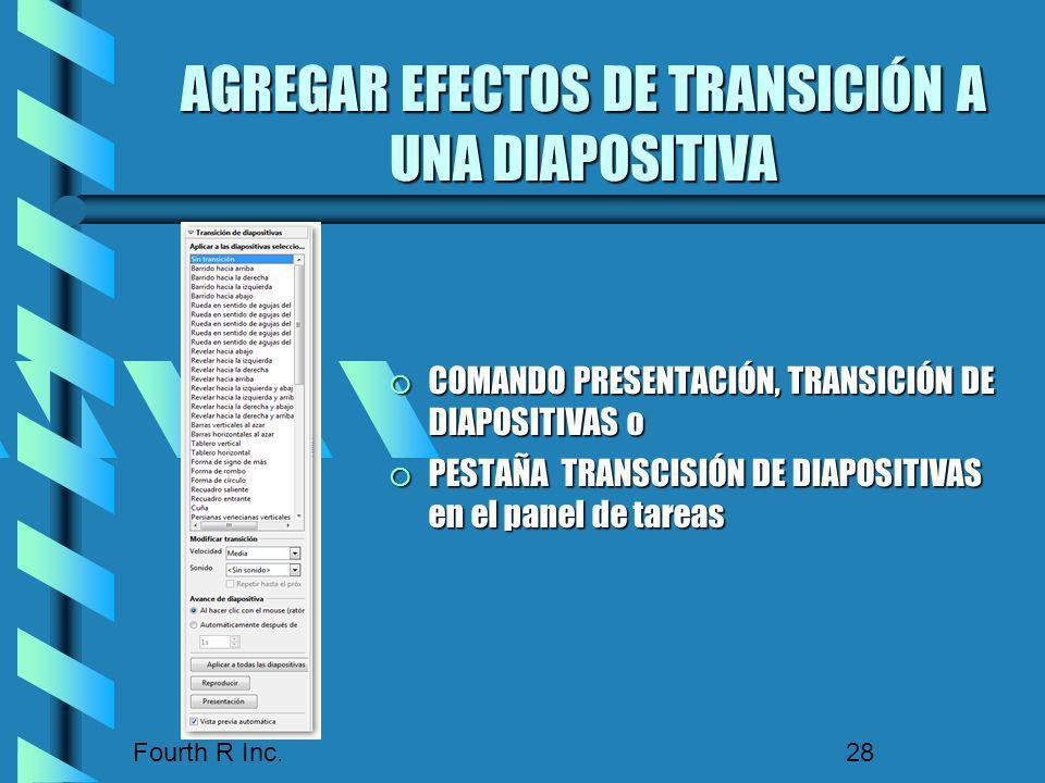AGREGAR EFECTOS DE TRANSICIÓN A UNA DIAPOSITIVA