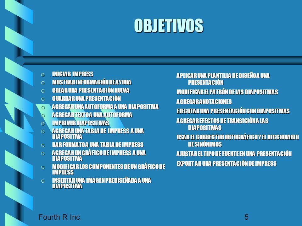 OBJETIVOS Fourth R Inc. INICIAR IMPRESS MOSTRAR INFORMACIÓN DE AYUDA