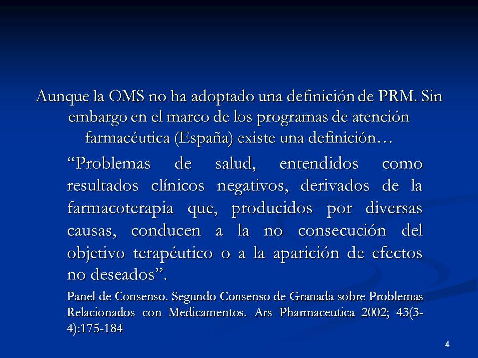 Aunque la OMS no ha adoptado una definición de PRM