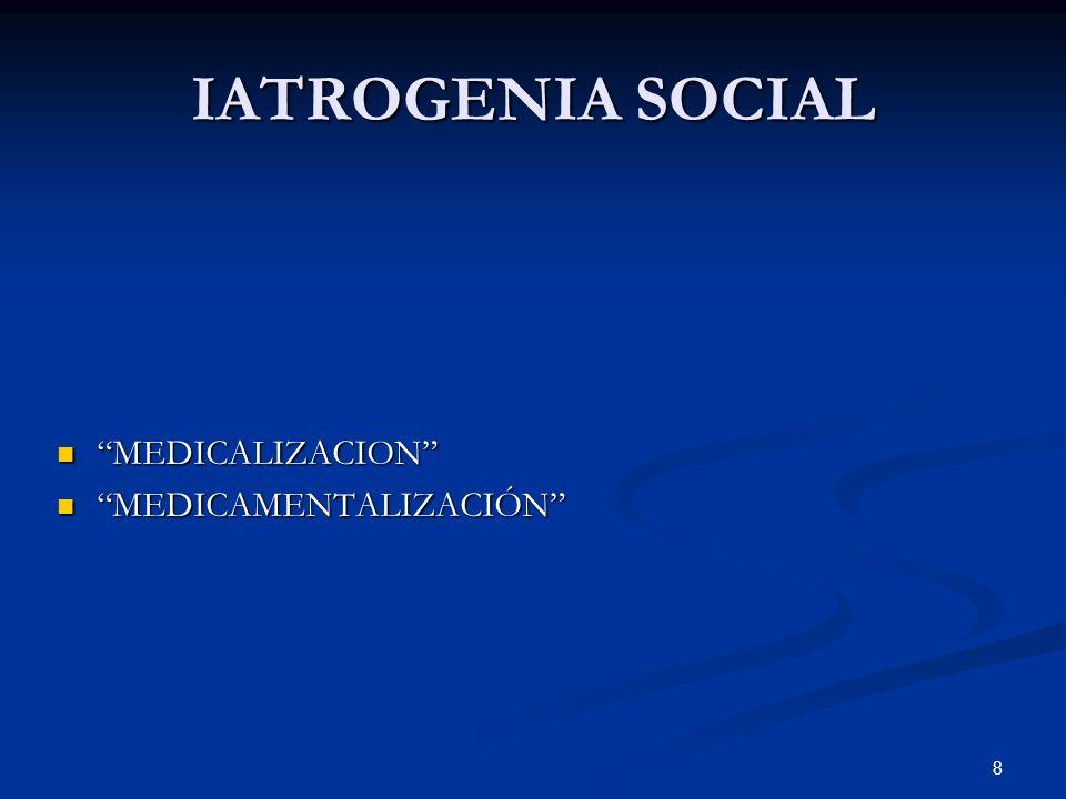 IATROGENIA SOCIAL MEDICALIZACION MEDICAMENTALIZACIÓN
