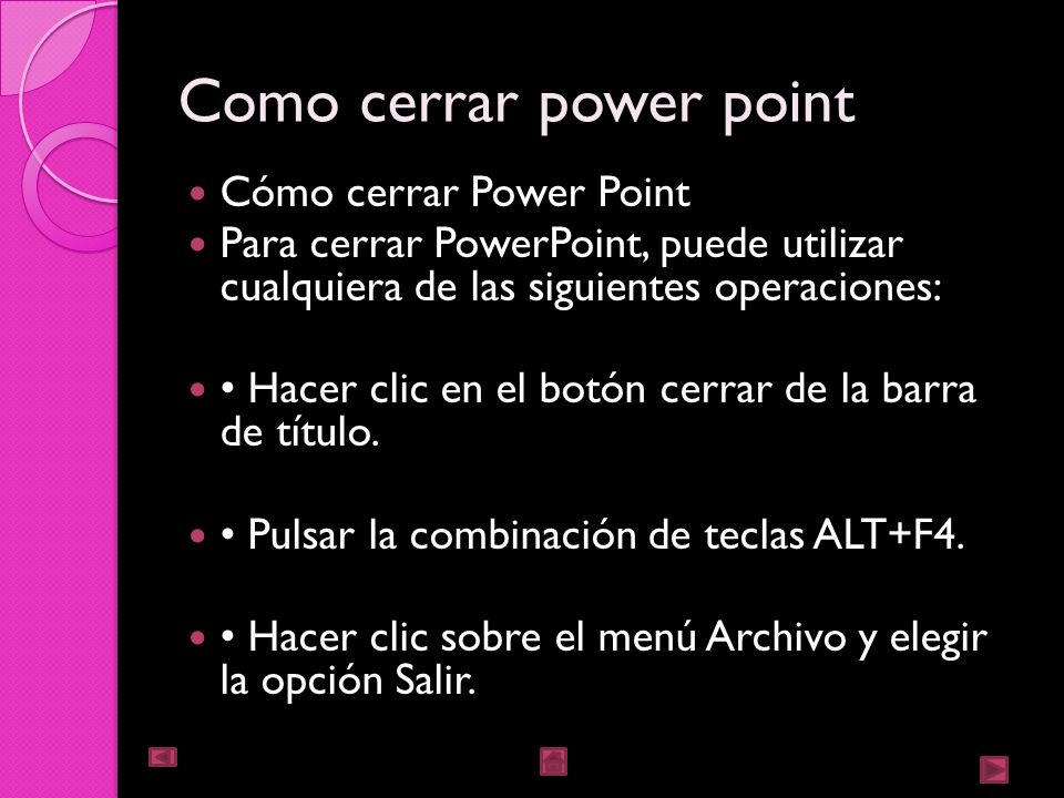 Como cerrar power point
