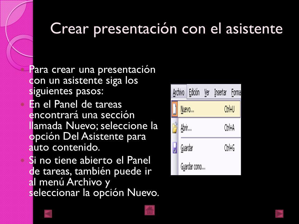 Crear presentación con el asistente