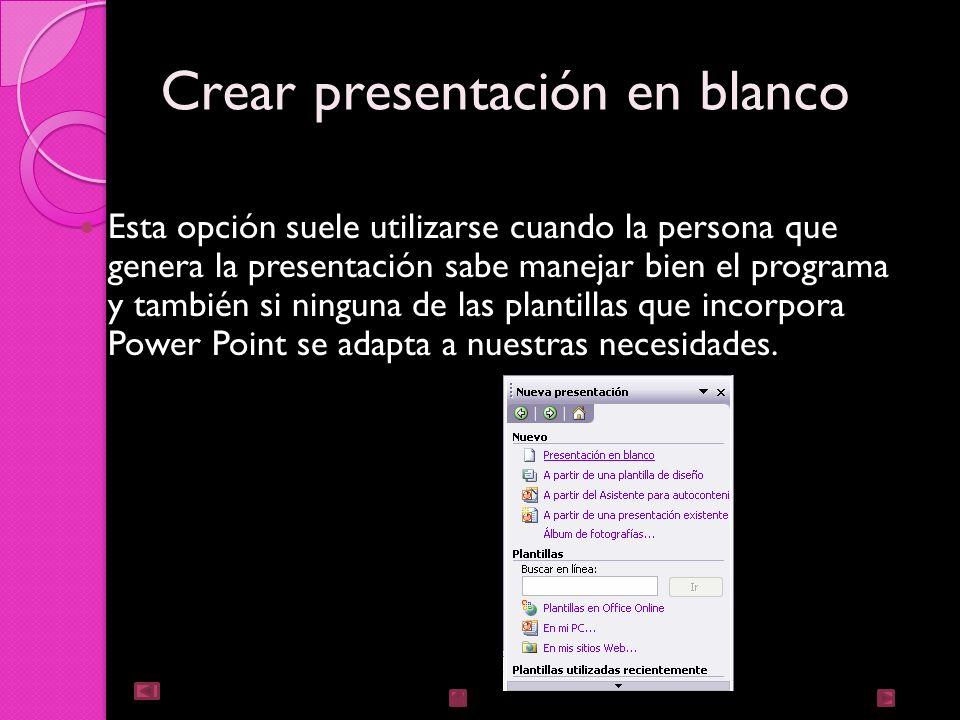 Crear presentación en blanco