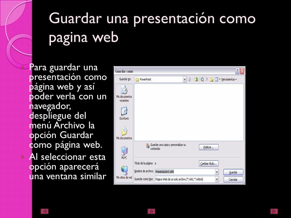 Guardar una presentación como pagina web