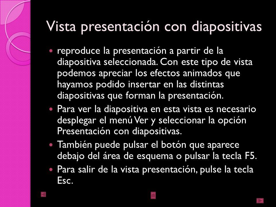 Vista presentación con diapositivas
