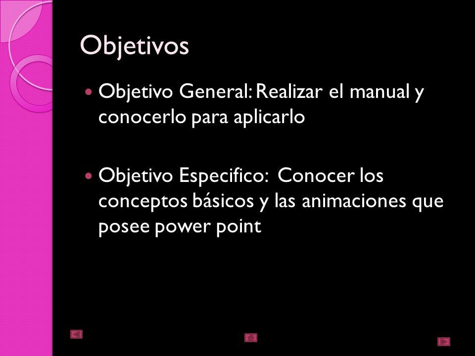 Objetivos Objetivo General: Realizar el manual y conocerlo para aplicarlo.