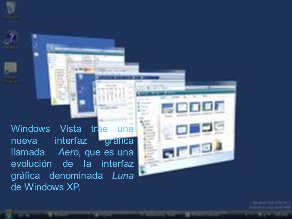 Windows Vista trae una nueva interfaz gráfica llamada Aero, que es una evolución de la interfaz gráfica denominada Luna de Windows XP.
