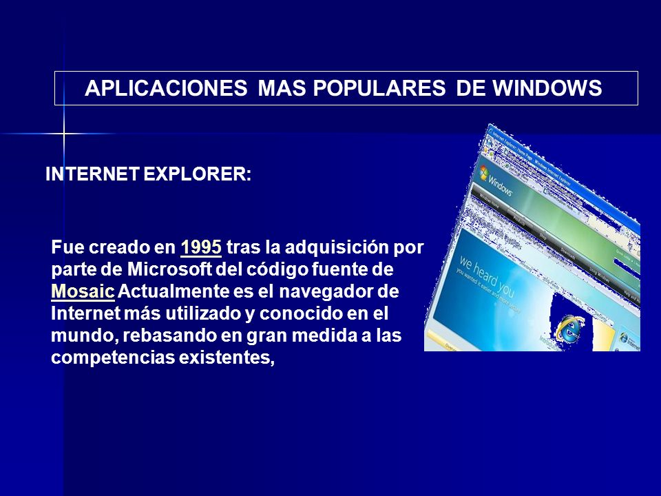 APLICACIONES MAS POPULARES DE WINDOWS