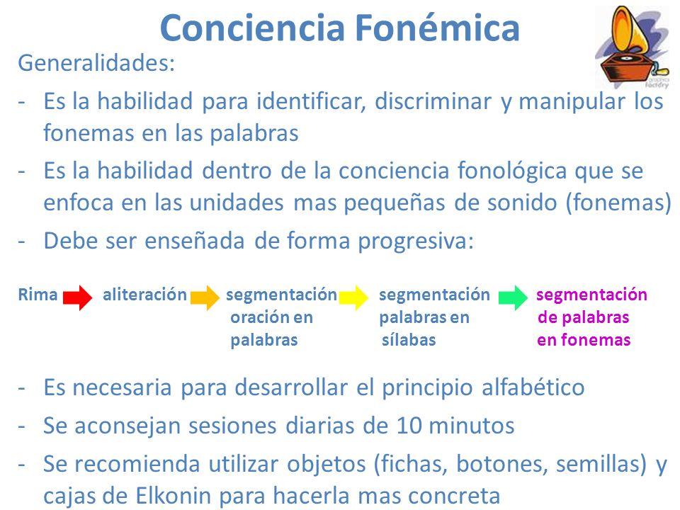 Conciencia Fonémica Generalidades: