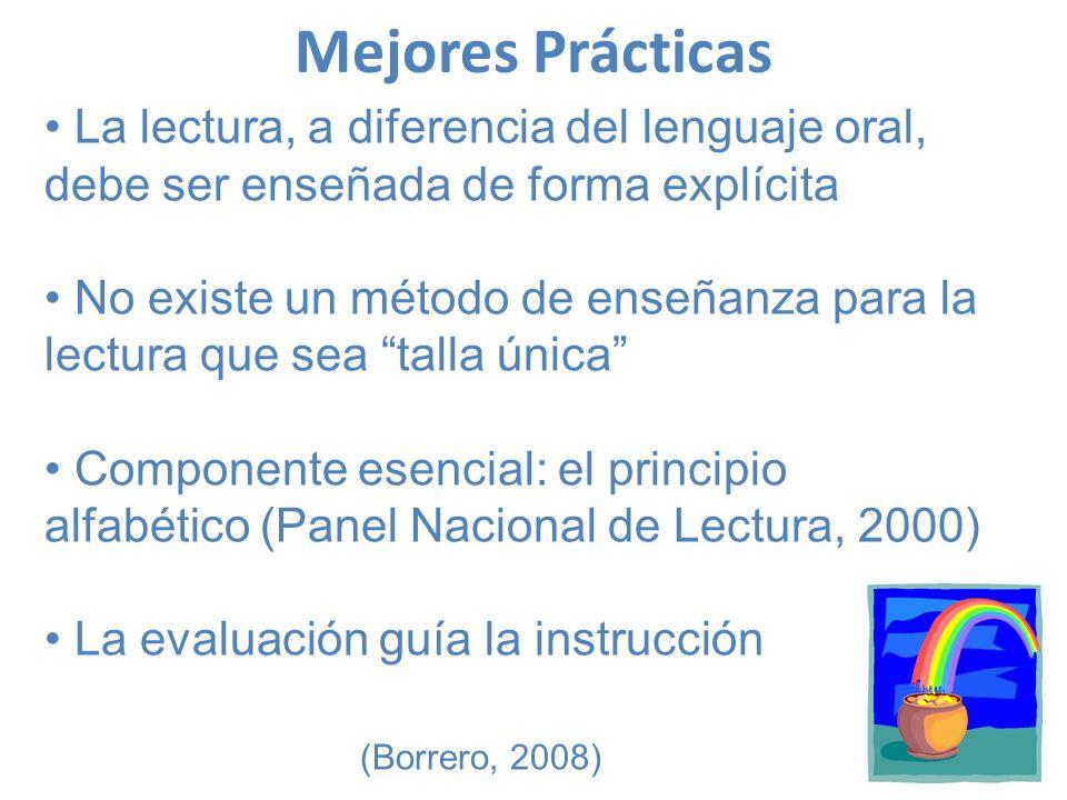 Mejores Prácticas La lectura, a diferencia del lenguaje oral, debe ser enseñada de forma explícita.