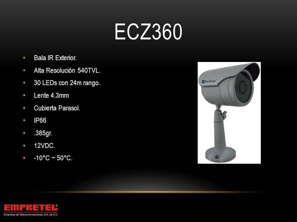ECZ360 Bala IR Exterior. Alta Resolución 540TVL.